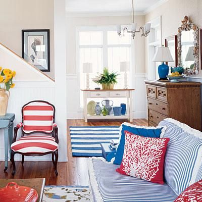 This Traditional Red, White And Blue Living Room Found In Coastal Living Is  Ideal For The Seaside Setting. I Love The Combination Of Red And Blue  Striped ...