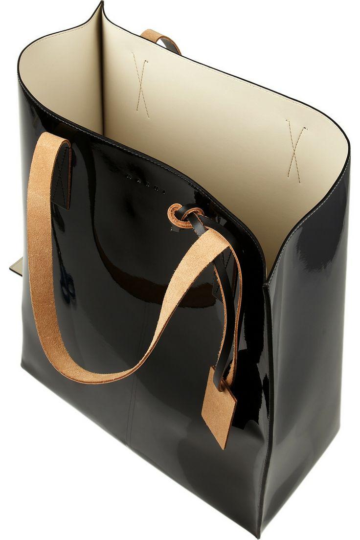 Marni | Two-tone faux patent-leather tote | NET-A-PORTER.COM