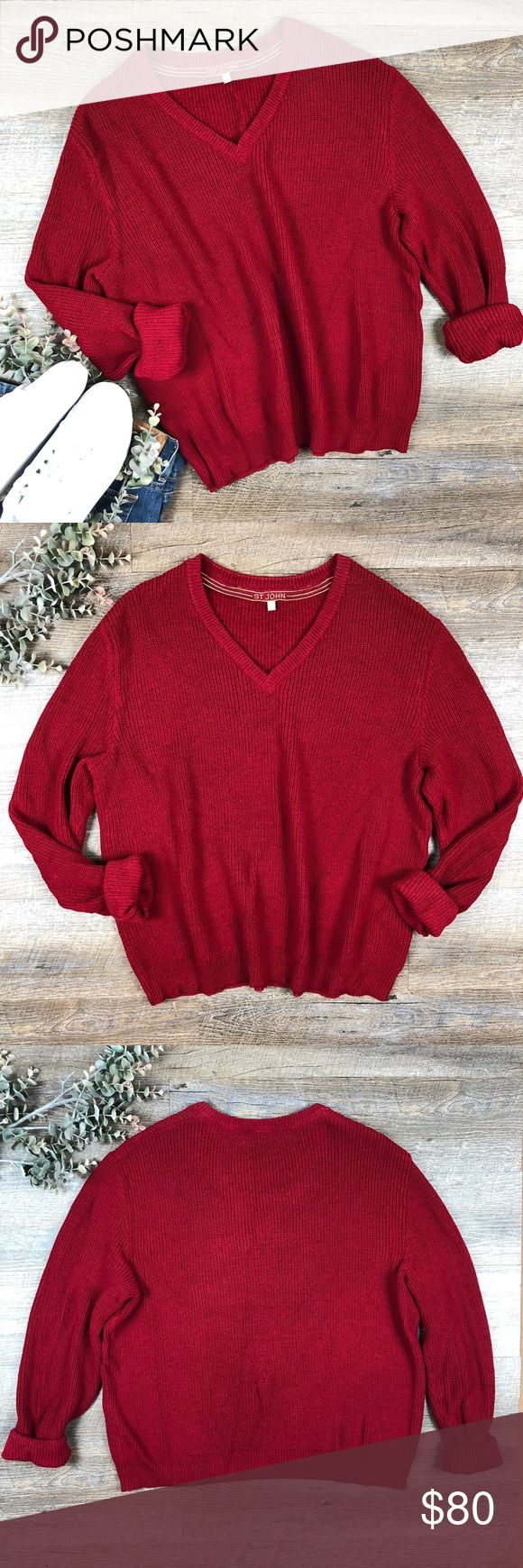 Vintage St John Sweater Gorgeous red vintage St John sweater! Great for the over sized Sweater look. In good condition other then small hole on the back and some wear on the sleeves ( see images). 80% wool, 20% rayon. Size M. (G-5. B) St John Sweaters V-Necks
