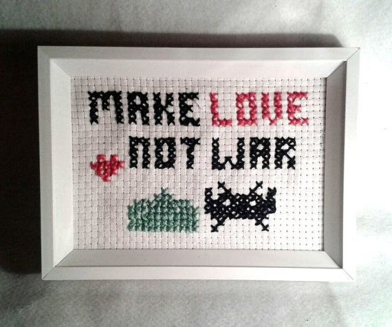 Make Love not war Space invaders crossstitch FREE by chiaracat