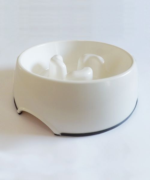 DOGMA SLOW FEED BOWL - WHITE. Available from www.nuzzle.co.za