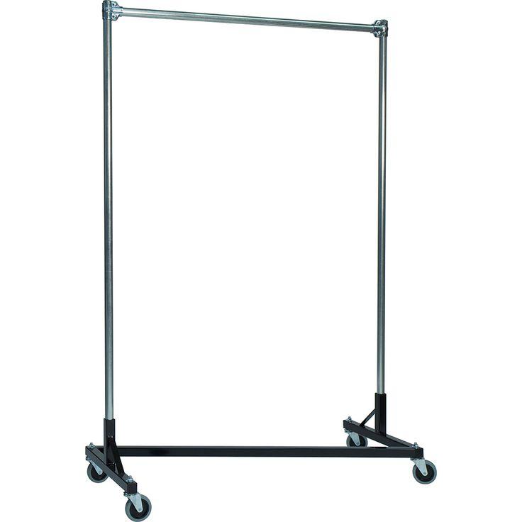 "Quality Fabricators Black Z-Rack, Heavy Duty Clothes Rack 75"" L x 84"" Uprights, Single Rail 272841BLK"