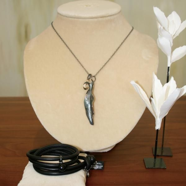 Ole Lynggaard Contemporary Silver Jewellery Capsule - Black Leather Bracelet & Onyx Charm-Buy on 3mth subscription
