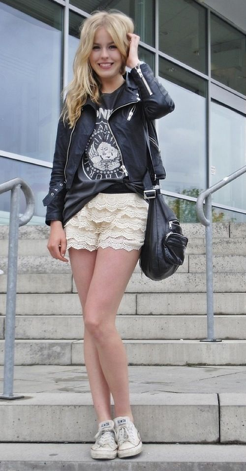 hard and sweet: Fashion, Inspiration, Rocker, Clothes, Street Style, Outfit, Closet, Lace Shorts