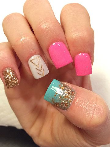 Glitter acrylic nails. I love these nails! I would do pink on the thumb instead of blue though.