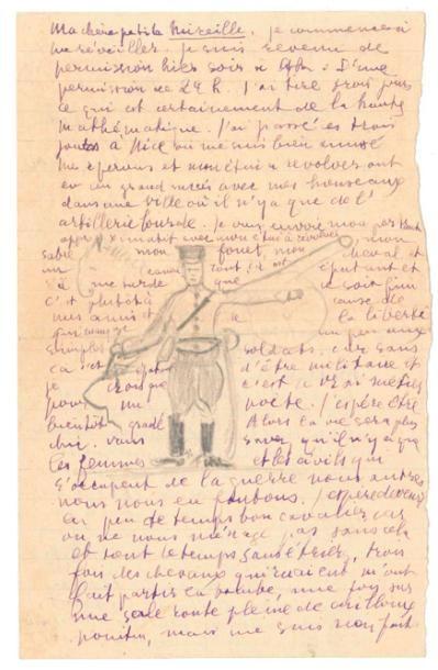 Guillaume Apollinaire (1880-1918), lettre autographe, signée avec dessin, Nîmes, 3 janvier 1915, à sa «chère petite Mireille Havet», deux pages in-8° à l'encre violette, dessin à la mine de plomb.  Estimation : 10 000/15 000 € Lundi 3 avril, Vendôme.  Rouillac OVV. M. Bodin.