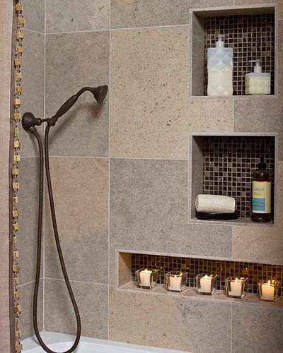 Small Earthy Bath Remodel - love the built in shelves