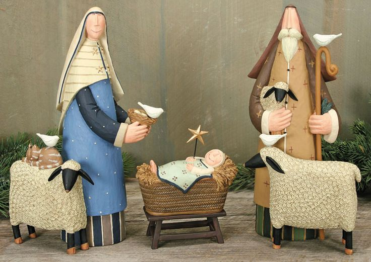 Folk Art Nativity Set – Christmas Folk Art & Holiday Collectibles – Williraye Studio $85.00