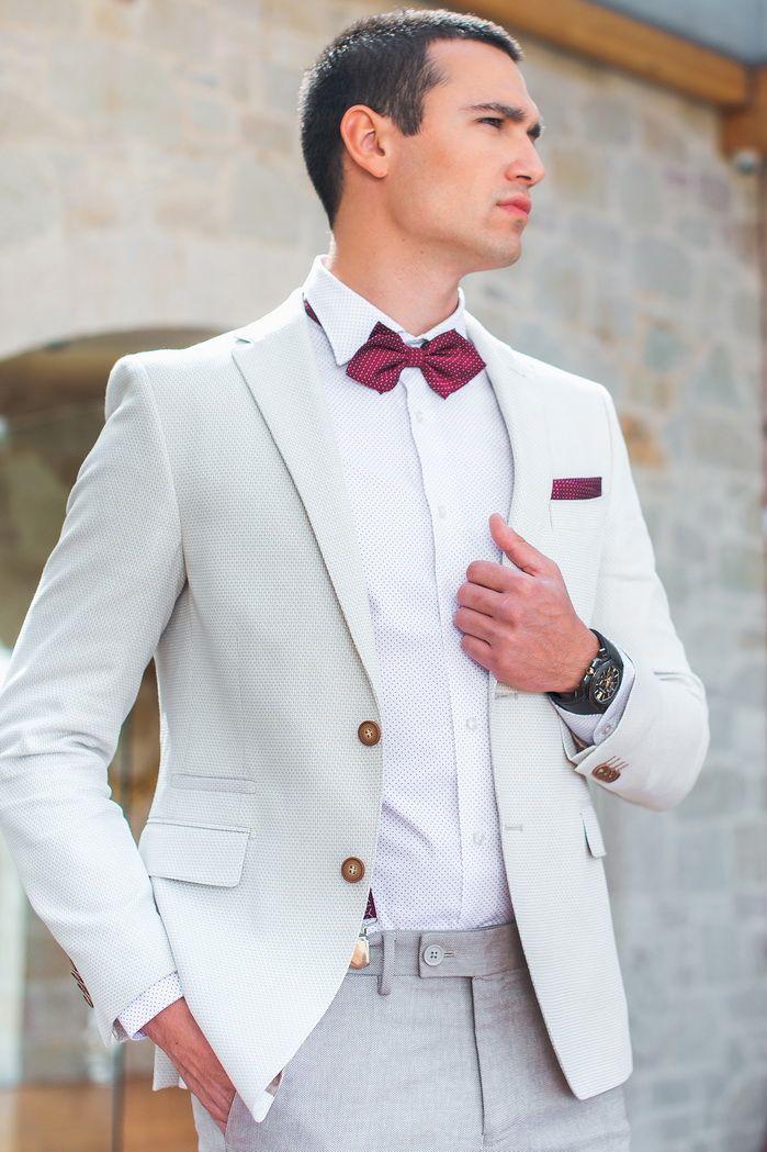 Modern groom suit with bordeaux accessories#The Mark#photography:STUDIO FOUSEKIS#watch:Bulgari Octo by MENTIS#model:Panos Tzemis#Venue:Agouridis estate