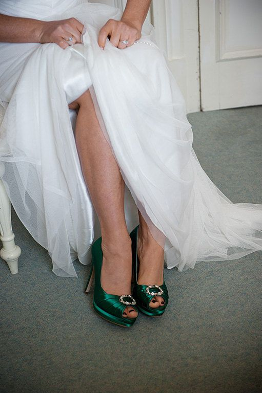 Emerald Green Wedding Shoes- Green Irish Wedding Platform Heels With Crystal - Choose From Over 100 Colors- Open Toe Platform Wedding Heels