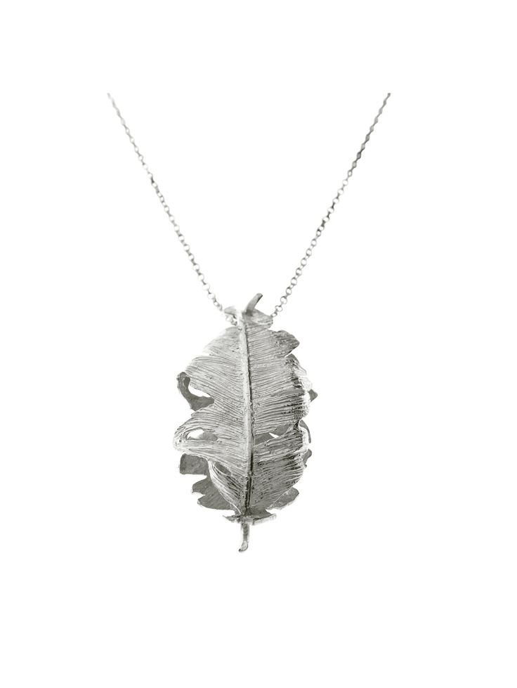 Statement falcon feather necklace by Icelandic jeweller Aurum. Song of jewellery. Silver jewellery for women.