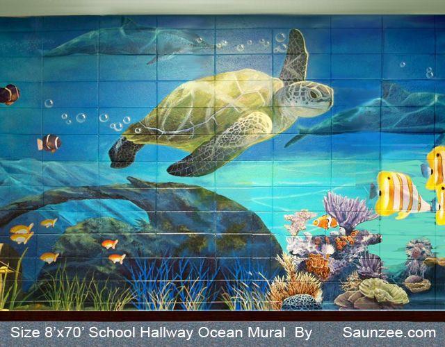 School Hallway Ocean Mural Octopus Large Painting in Building Murals under water Mural Under The Sea Mural Turtle inSide of Business Mural