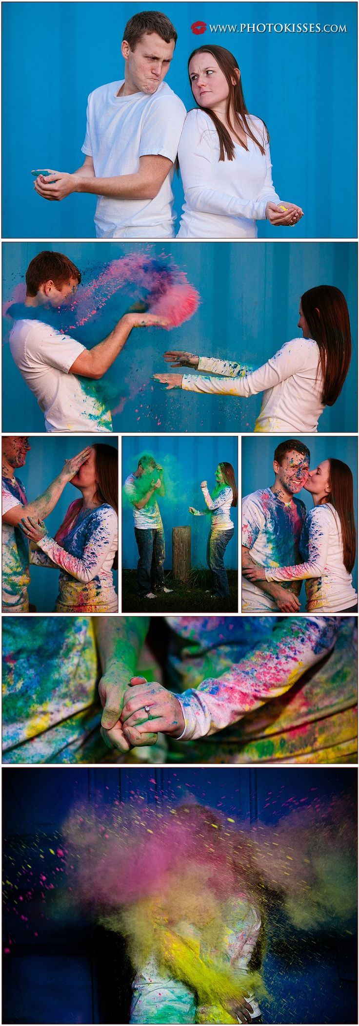 I love this photographer.  So creative!! Check out this engagement powder war collage.
