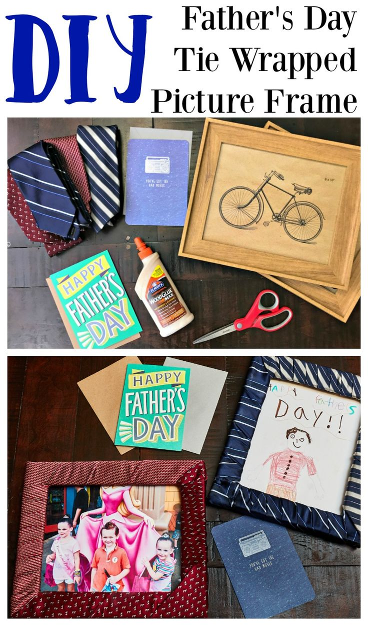 DIY Father's Day Tie Wrapped Picture Frame, Father's Day Gift Ideas, Homemade Father's Day Gifts