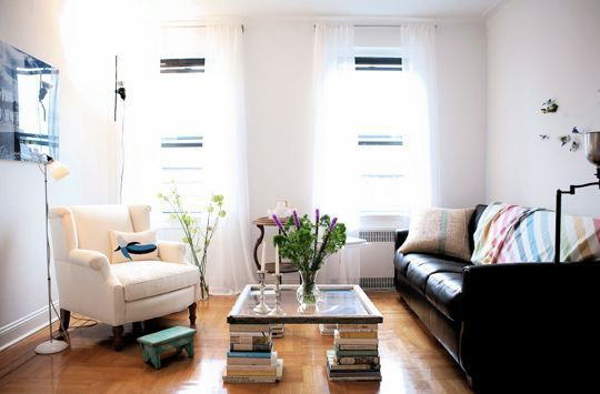 The DIY Custom Coffee Table: Coffee Tables, Living Rooms, Tables Legs, Stacking Of Book, Studios Apartment, Old Window, Window Panes, East Village, Memorial Tables