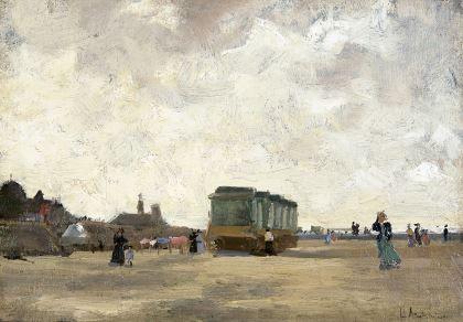 Pieter Florentius Nicolaas Jacobus 'Floris' Arntzenius (1864-1925) A windy day on the beach of Scheveningen, oil on canvas laid down on panel. Collection Simonis & Buunk, The Netherlands