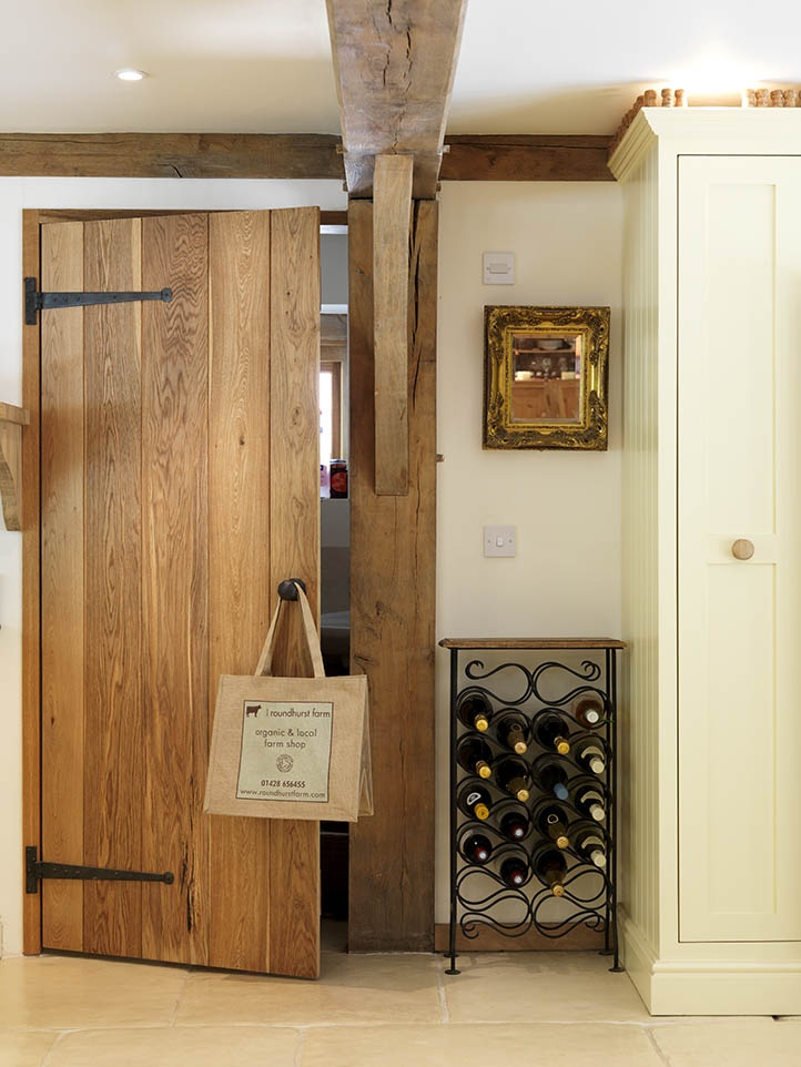 Kitchen detail - the oak ledged door leads from the kitchen into the larder.