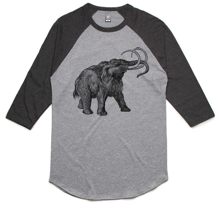 theIndie Vintage Wooly Mammoth (Black) 3/4-Sleeve Raglan Baseball T-Shirt