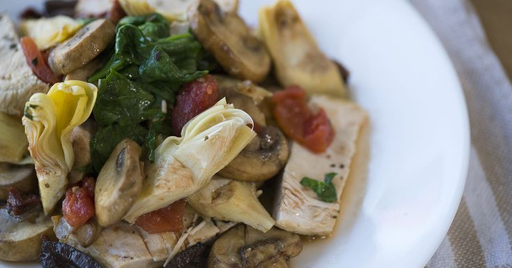 Mediterranean Chicken Skillet-  One pan chicken, mushrooms, spinach, tomatoes, artichoke hearts, olives make a delish easy dish!