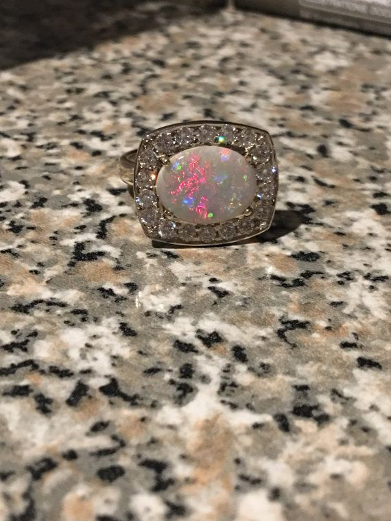 Opal and Diamond ring by ADMitchellAndCO on Etsy