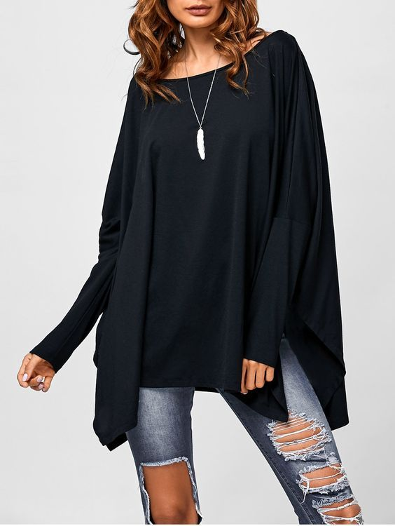 Drop Shoulder Asymmetrical Smock Pullover in Black | Sammydress.com