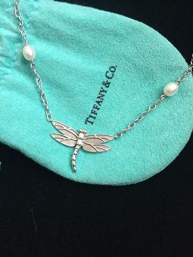 Tiffany Co 18K White Gold Pearl Diamond Dragonfly Necklace