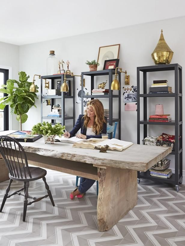 Check out HGTV.com to see Geneveive Gorder's stylish home office.
