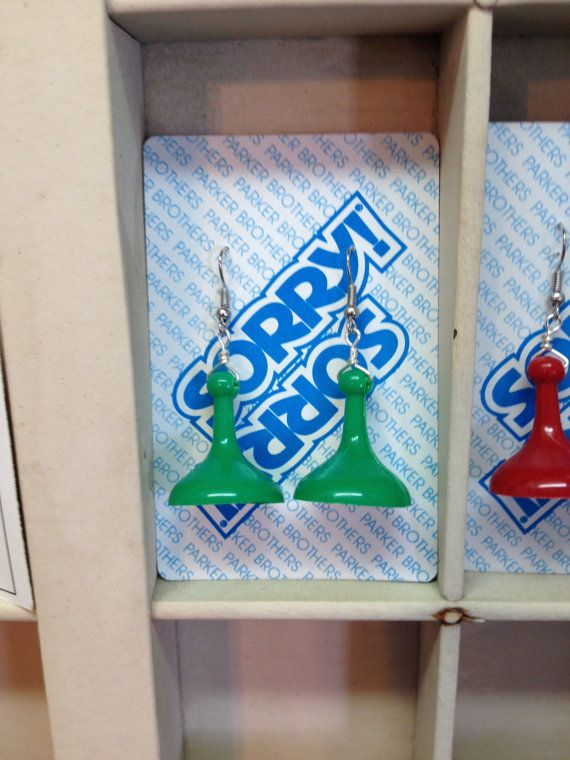 "Handmade - Upcycled/ Recycled/ Repurposed ""Sorry"" Game Piece / Pawn Earrings on Etsy, $7.99"