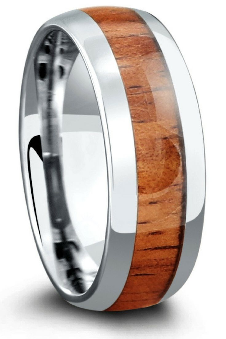 Mens wooden wedding ring. This wood ring is crafted from tungsten carbide and inlaid with genuine koa wood. The outsides edges of this ring have a high polish finish as well as the inside. All Northern Royal wood rings are waterproof.
