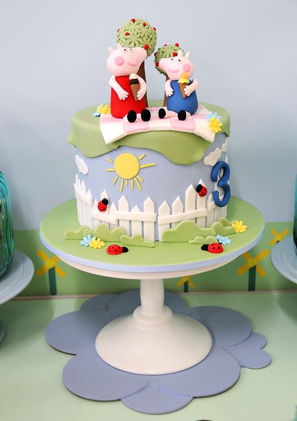 Playful & Sunny Peppa Pig Themed Birthday Party - Little Wish Parties Cake by Miss Shells Cakes