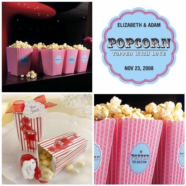 Pour un mariage autour du cinéma… n'oubliez pas les chaises en velours rouge et un écran géant dans le champs d'à côté pour une projection en plein air! :)