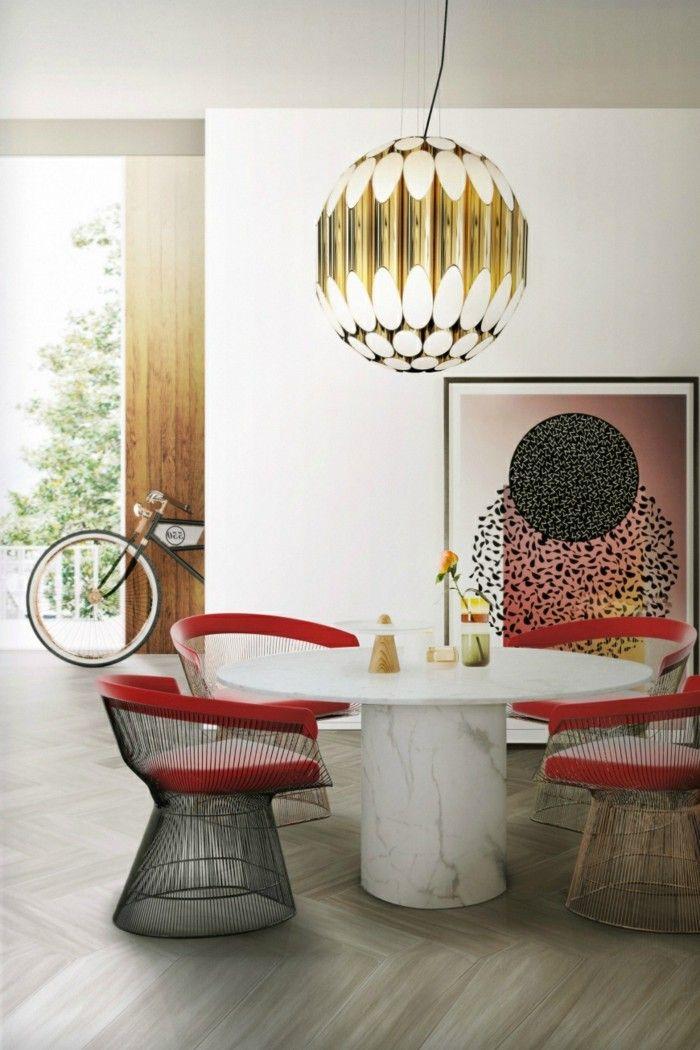 esszimmer modern lampe mit futuristischem design - Hervorragendes Rotes Esszimmer Design