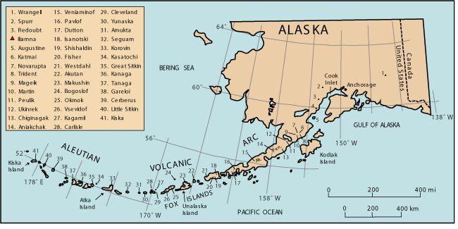 Alaska Map Volcano.Map Of Historically Active Volcanoes In Alaska Aleutian Chain Of
