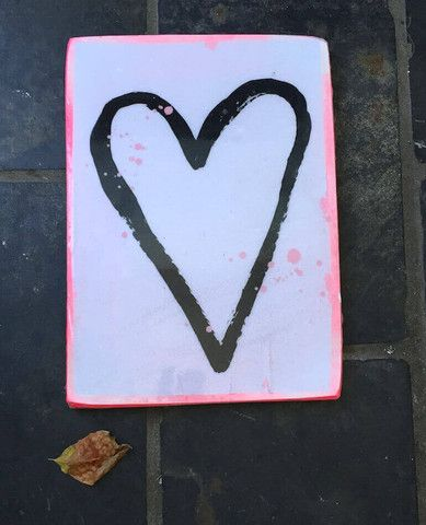 A4 Large Rectangle Tile - Pink Heart