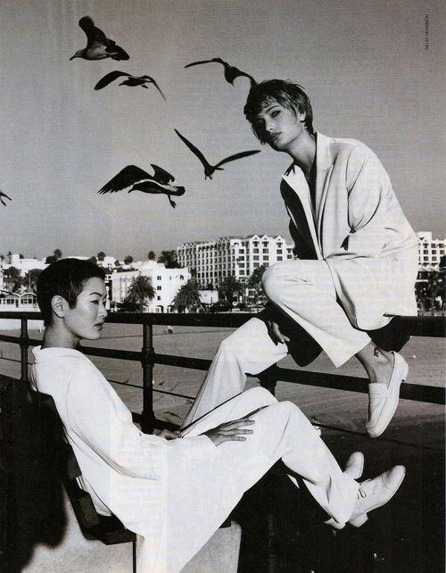 Elle US - February 1994 -  Photographer: Gilles Bensimon - Models: Jenny Shimizu & Manon von Gerkan.