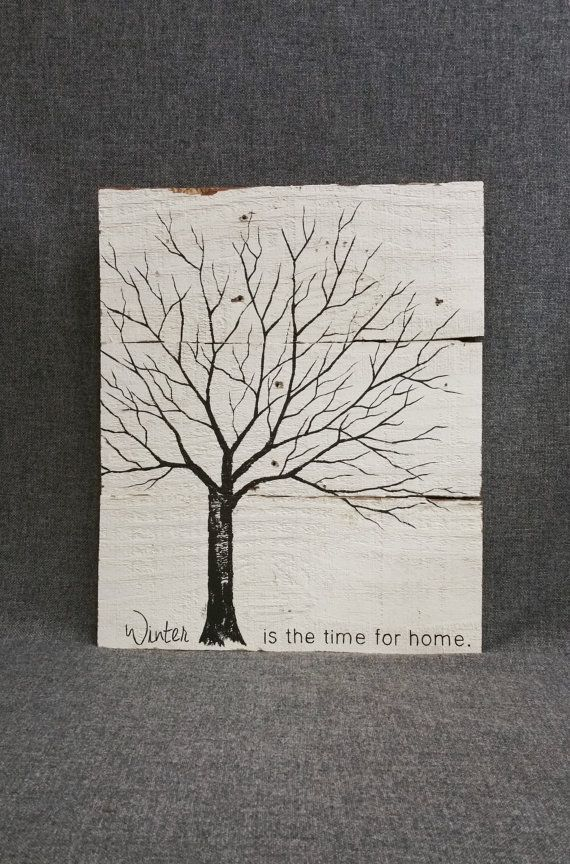Reclaimed Wood wall Art, Hand painted tree, black and white, Distressed sign, Word art, Winter