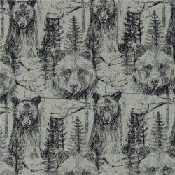 Stretch-Jersey, Hellgrün Melange mit Bär