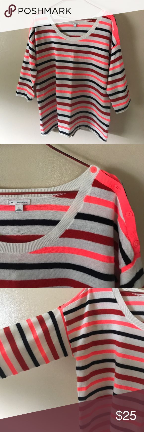 Gap neon striped boat neck sweater Super soft and cozy, this wool blend boatneck sweater is great for fall. Button accent across one shoulder, three quarter length sleeves. In excellent condition. GAP Sweaters