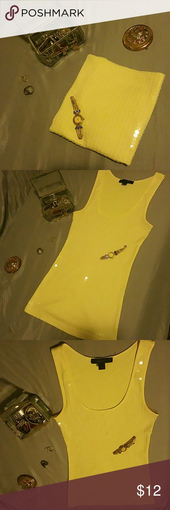 💥new💥 Express sequin tank top Bright yellow. Brand new. Express Tops Tank Tops