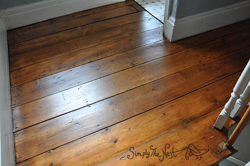 Victorian wooden plank floor finished with Osmo Polyx Oil Tints in Amber 3072 - by Simply The Nest, a UK DIY renovation blog
