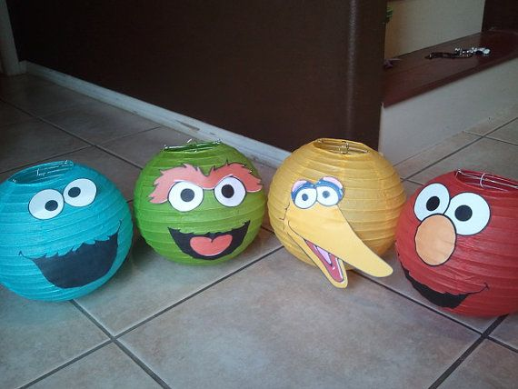 Oh, as long as you found the right color paper lanterns, these Sesame Street decorations would be pretty easy to put together, I'd think.