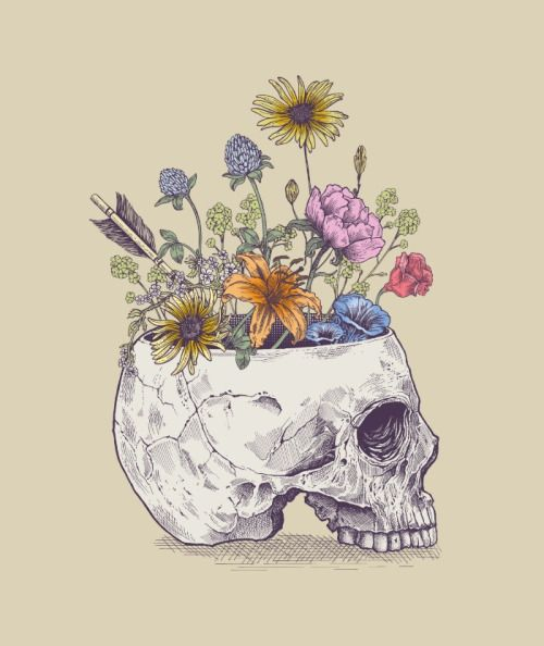 "Make a flower vase out of a skull. ""Even in death there is life"""