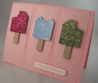 Popsicle card made with Tag Punch, Window Word punch, and scallop oval punch