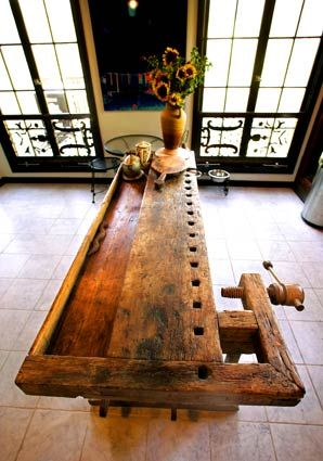 #furniture  recycled cabinetmakers bench: Woodworking Benches, Decor Ideas, Work Benches, Carpenter Benches, Workbenches Ideas, Kitchens Islands, Kitchen Islands, Workbenches Turning, Workbenches Design