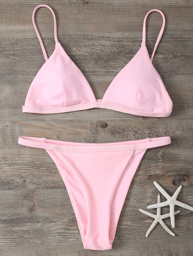 Low Waisted Spaghetti Strap Bikini Set PINK: Bikinis | ZAFUL