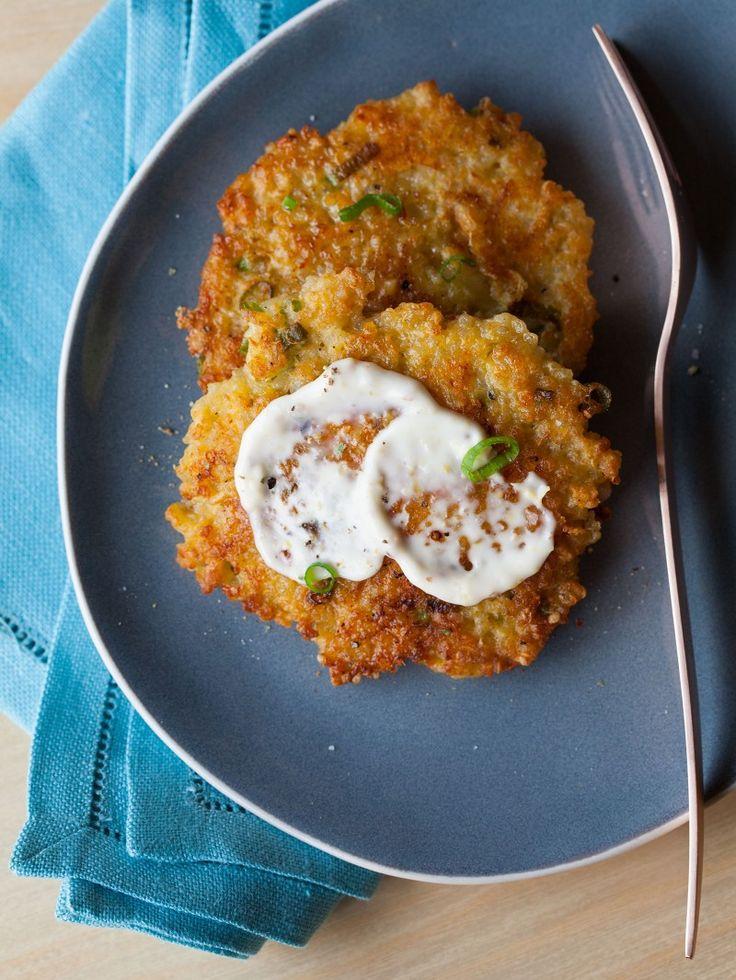 Cheesy Quinoa Fritters! http://www.yummly.com/recipe/Cheesy-quinoa-cakes-with-a-roasted-garlic-and-lemon-aioli-334842