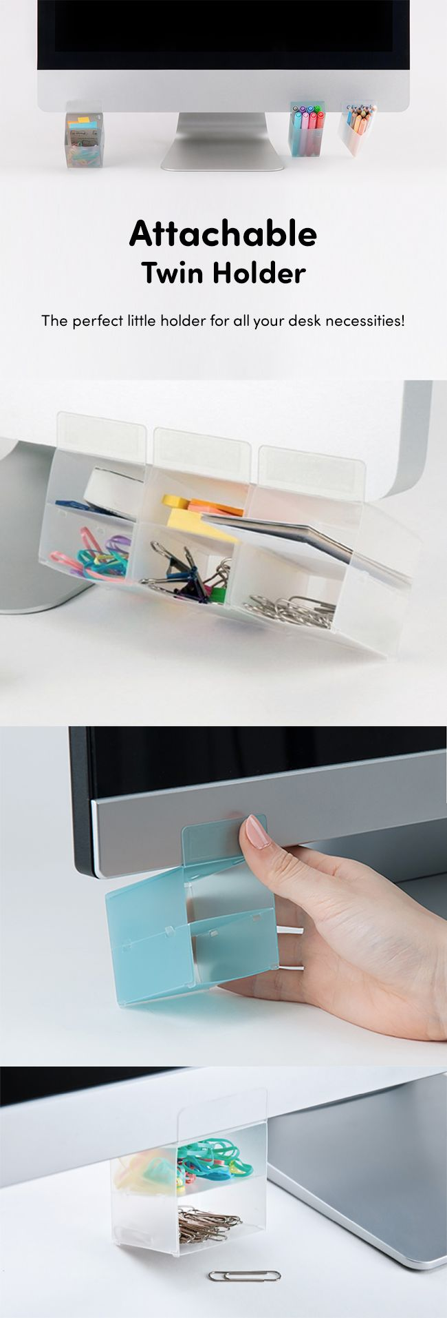 Get out of the way desk clutter! We present the most practical & genius way to organize your daily office supplies! These super cute + helpful attachable supply holders are here to save the day! This convenient, useful holder can be placed on computer monitors, desk edges or bookshelves. The 3-set combo comes in square, triangle & rectangle designs + 5 pastel colors to choose from! You can even use it for your bathroom, kitchen & garage! Say adieu to messy & hello to a million ways to…