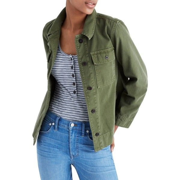 Women's Madewell Northward Crop Army Jacket (€99) ❤ liked on Polyvore featuring outerwear, jackets, loden, cropped military jackets, cotton military jacket, lightweight jackets, army jackets and field jackets