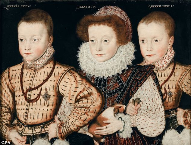 Three unknown Elizabethan children, ca. 1590-5, English School. Note that the girl in the center his holding a guinea pig!