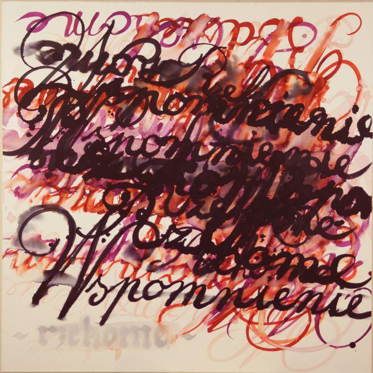 Maciej Olekszy, Wspomnienie rzekome, atrament papier naklejony na płótno, 100 x 100 cm, 2013